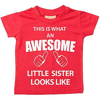 これは何の素晴らしい妹に見えるような赤 t シャツです。