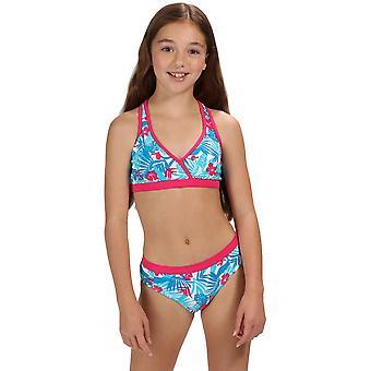 Regatta लड़कियों Hosanna रेसर वापस मुद्रित बिकनी तैरना शीर्ष