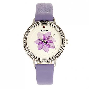 Bertha Delilah Leather-Band Watch - Silver/Lavender