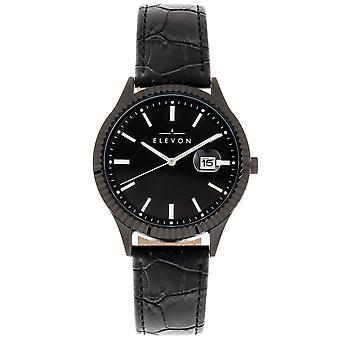 Elevon Concorde Leather-Band Watch w/Date - Black