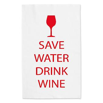 Save Water Drink Wine White Tea Towel Red Text