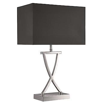 Satin sølv bordlampe med sort skygge - projektør 7923SS