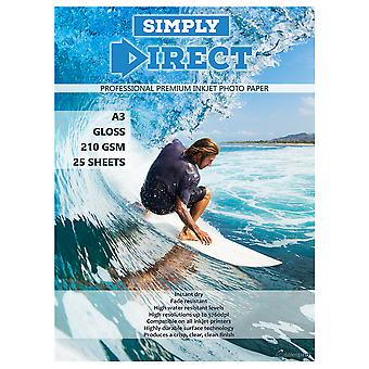 25 x Simply Direct A3 Gloss Inkjet Photo FSC Printing Paper - 210gsm - Professional Premium Photographic Paper