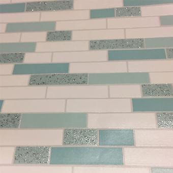 Brick Effect Wallpaper Tiles Granite Oblong Glitter Shiny White Teal Silver