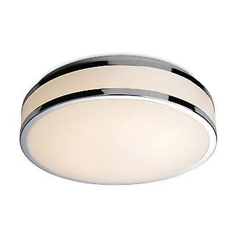 Firstlight-LED Round Flush Bathroom Ceiling Light White Diffuser, Chrome Trim IP44-8342CH