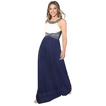 KRISP kvinder Diamante monteret lang Fishtail Party brudepige bryllup Maxi prom kjole