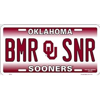 "Oklahoma Sooners NCAA ""BMR SNR"" plaque d'immatriculation"