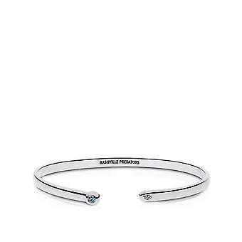 Nashville Predators Engraved Sterling Silver White Sapphire Cuff Bracelet