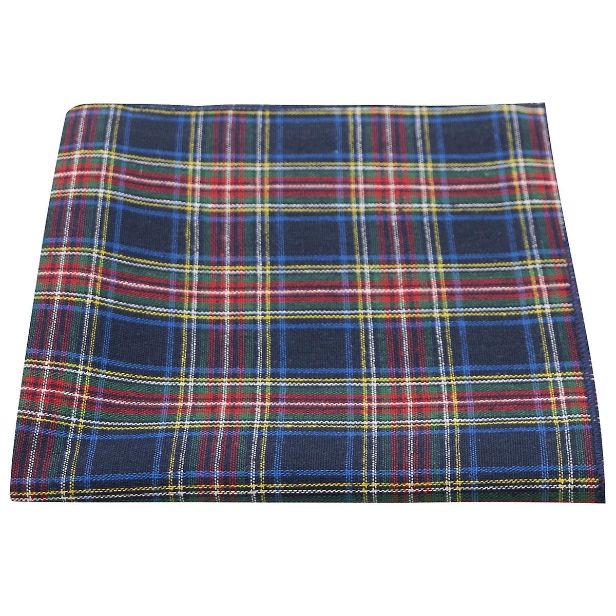 Traditional Navy Blue Tartan Pocket Square, Handkerchief, Check, Plaid