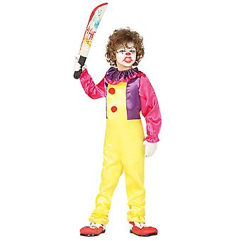 Jongens boze kleurrijke clown Halloween fancy dress kostuum