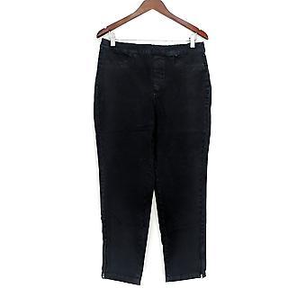 Isaac Mizrahi Live! Vrouwen ' s jeans 24/7 denim enkel zip zwart A283794