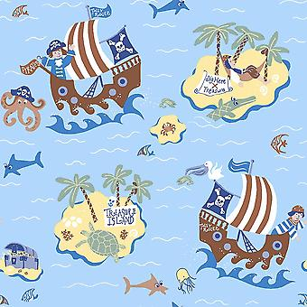 Boys Blue Pirates Wallpaper Skulls Treasure Island Maps Paste Wall Galerie