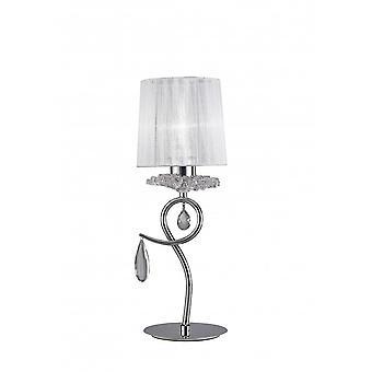 Mantra Louise bordslampa 1 ljus E27 med vit nyans polerad krom/klar kristall