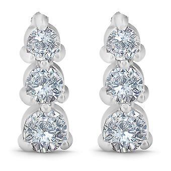 1 / 2ct 3 Stone ronde afgestudeerd diamanten oorbellen 14K wit goud