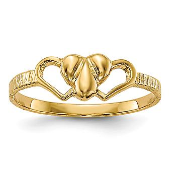 14k Yellow Gold Solid Polished for boys or girls Love Heart Ring Size 5 - 1.1 Grams