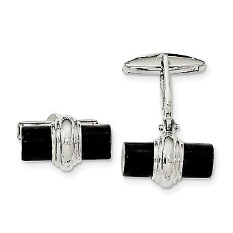 925 Sterling Silver Simulated Onyx Boutons de manchette