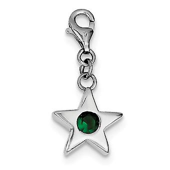 925 Sterling Silver Polished Open back Fancy Lobster Closure May CZ Cubic Zirconia Simulated Diamond Star Charm Pendant