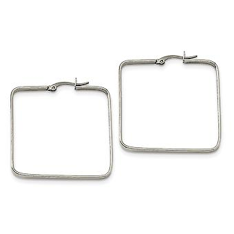 Stainless Steel Hinged Polished 40mm Square Hoop Earrings Jewelry Gifts for Women