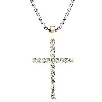 Dazzlingrock Collection 0.30 Carat (ctw) 10K Round Diamond Ladies Cross Pendant 1/3 CT (Silver Chain Included), Yellow Gold