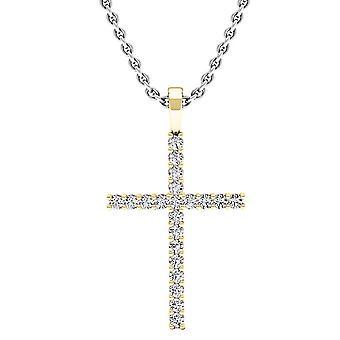 Dazzlingrock Collection 0,30 Carat (CTW) 10K Round Diamond damer Kors vedhæng 1/3 CT (sølv kæde medfølger), gul guld