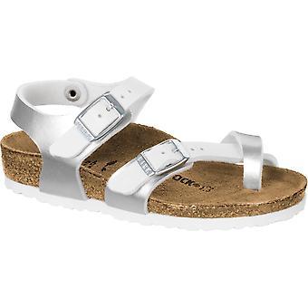Birkenstock Kids Taormina BF Sandal 1009495 zacht metallic zilver/wit SMAL