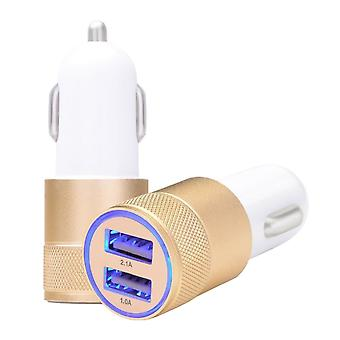 Universal Car Charger with 2x USB and LED light, gold