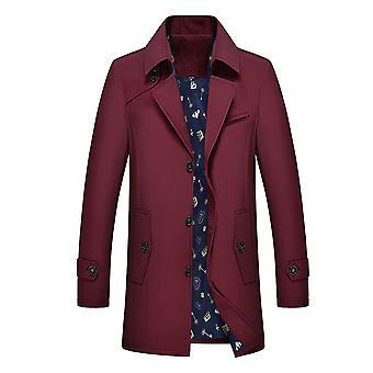 Allthemen Men ' s szilárd Lapel alkalmi szél kabát egysoros porbevon téli felsőruházat meleg felsőkabát molett