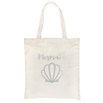 Mermaid Seashell-SILVER Natural Canvas Shoulder Bag Relaxed Gift