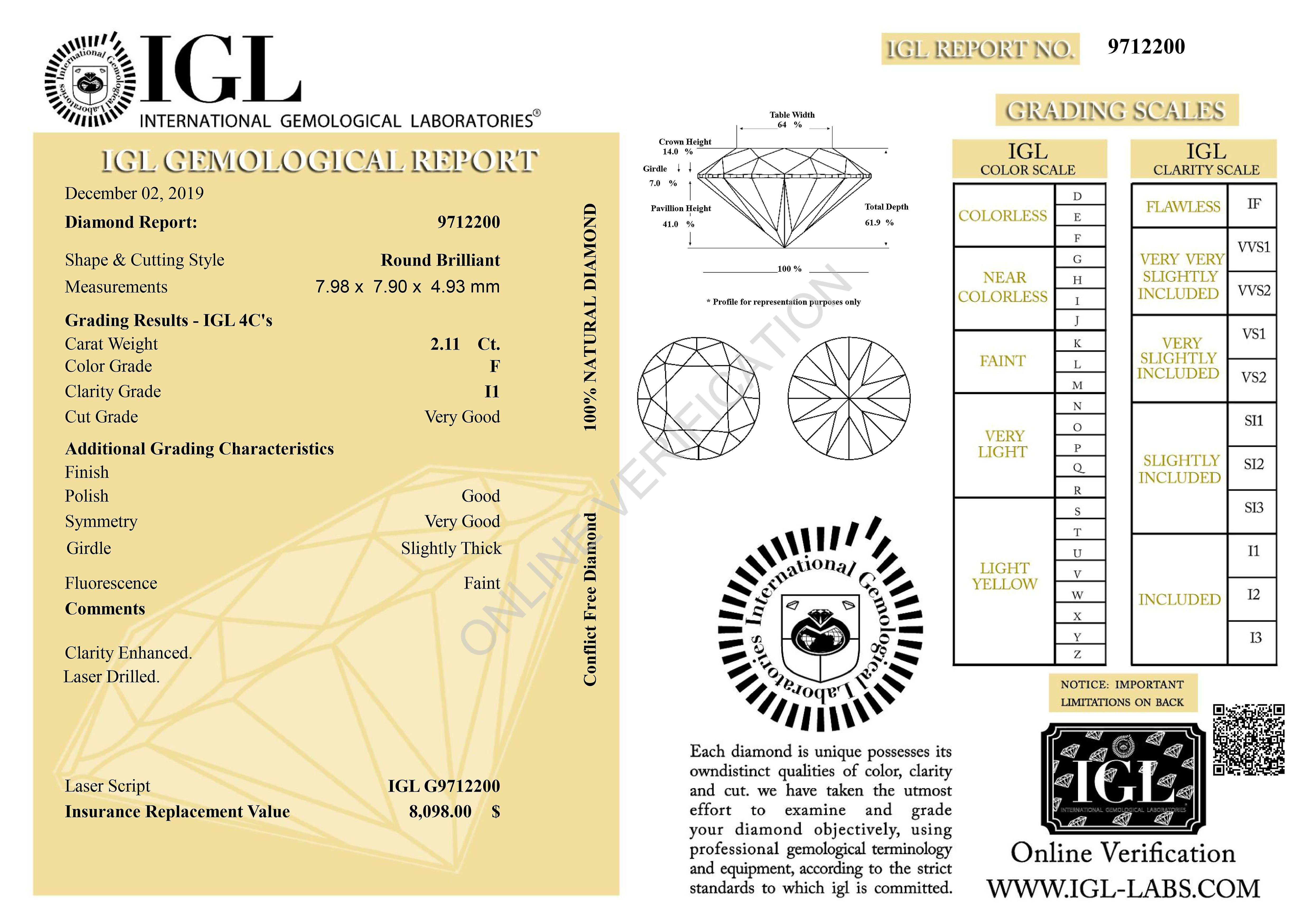Certified 2.11 Carat F Color Round Brilliant Enhanced Natural Diamond 7.98mm