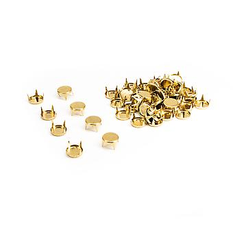 9mm Flat Round Head Punk Spike Studs with 4 nail Prong Teeth Hand Hammer
