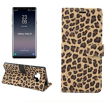 For Samsung Galaxy Note 9 Case,Folio Flip Leopard Leather Wallet Case,Yellow