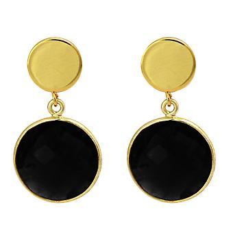 Gemshine Ohrringe schwarze Onyx Edelsteine 925 Silber oder edel vergoldet