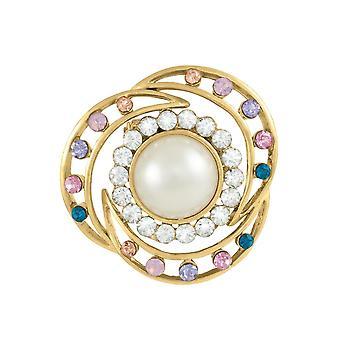 Ewige Sammlung Halbmonde Multi farbige Crystal und Faux Perle Schal Clip