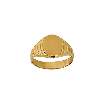 14k Yellow Gold Signet Oval Engravable Pattern Ring Jewelry Gifts for Women - Ring Size: 6 to 8
