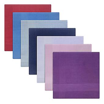 Mens/Gentlemens Handkerchiefs 100% Cotton Assorted Colours With Satin Stripe Borders