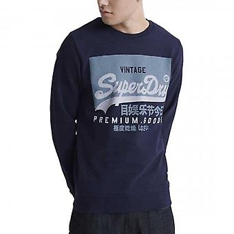 Superdry Vintage Label Crew Sweatshirt Rich Navy ADQ