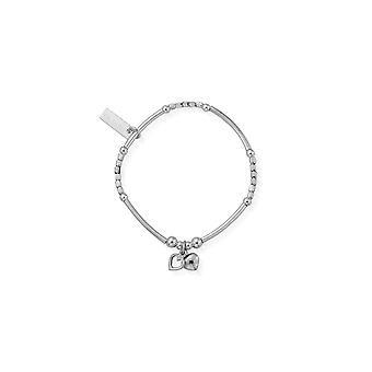 ChloBo Kinder's Silber Mini Nudel Würfel zwei Herzen Armband