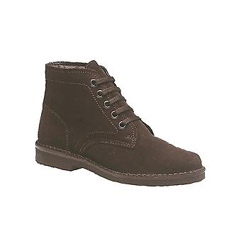 Roamers Dark Brown Real Suede 5 Eye Leisure Boot Textile Lining Pvc Micro Sole