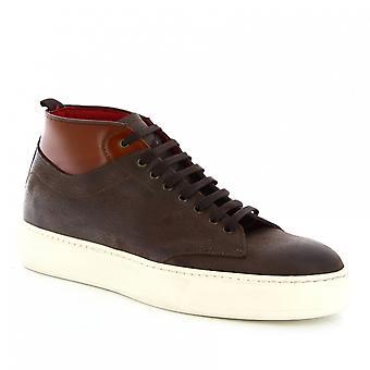 Leonardo Shoes Men's handgemaakte high top sneakers in donkerbruin napa leer