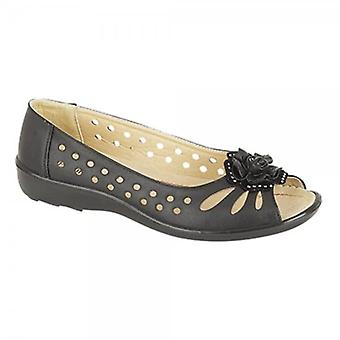 Boulevard Dayna Ladies Faux Leather Flower Peep Toe Flats Black