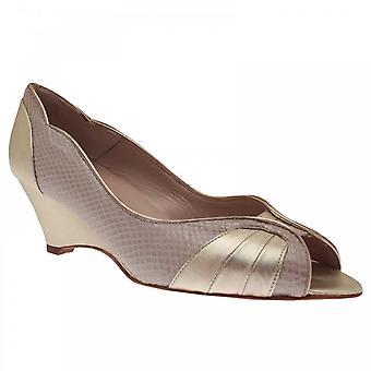Sabrina Chic Gold Peep Toe Wedge Heel Shoe