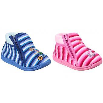 Mirak Childrens/Kids Safari Zip Up Bootie Slippers