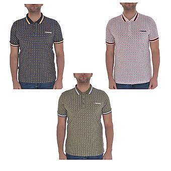 Lambretta Mens Geometrisk AOP kort ärm casual bomull polotröja t-shirt topp
