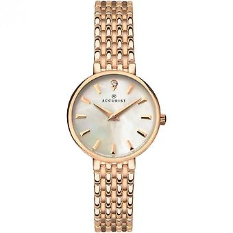 Accurist Ladies Round White Mother Of Pearl Dial Rose Gold Bracelet Watch 8182