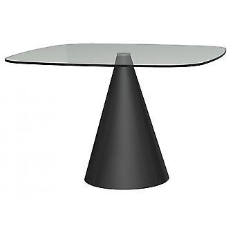 Gillmore Large Square Clear Glass Stół jadalny ze stożkową czarną podstawą