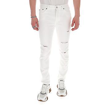 Buscemi Bms20612 Men's White Cotton Jeans