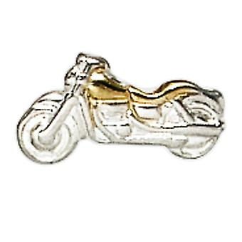 واحد مسمار الرمال دراجة نارية 925 الاسترليني الفضة ثنائية اللون الذهب مطلي