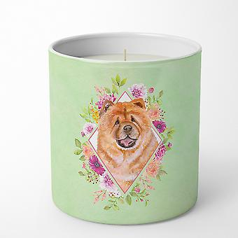 Chow Chow #1 Green Flowers 10 oz Decorative Soy Candle