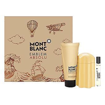 Montblanc embleem absolu voor mannen 3 stuk set omvat: 3.3 oz eau de toilette spray + 0.25 oz eau de toilette spray + 3.3 oz douche gel