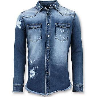 Camisa jeans comprida - Denim - Azul